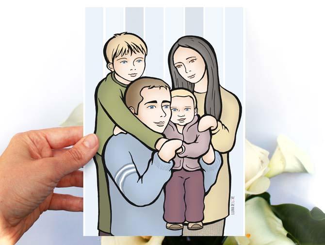 Lámina personalizada. Dibujo de familia. Retrato de familia. Personalización con calas de fondo