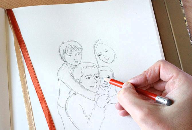 Personalización a partir de foto. Ilustración personalizada paso a paso. Regalos familia y maternidad