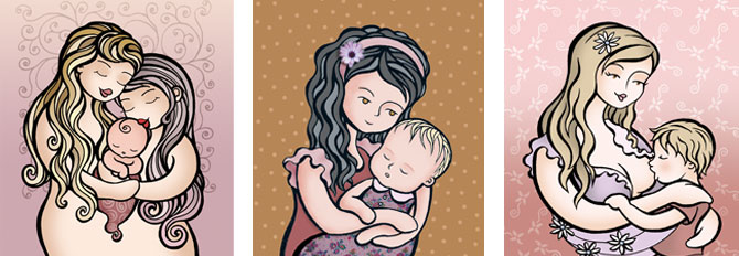 Ilustración personalizada. Retrato de familia personalizado. Hermanas, niña y bebé. Dos madres. Madre e hijo