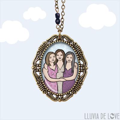 Ilustración personalizada, 3 o 4 figuras máximo. Retrato de familia. Family portrait.