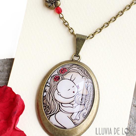 colgantes ilustrados para madres, colgantes para mamá, ilustración madre e hijo, regalos bonitos, regalos originales, medallón, camafeos bonitos