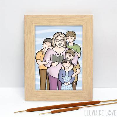 Lámina personalizada tamaño A4 para enmarcar. Regalos únicos y exclusivos para madres, abuelas, hermanas. Láminas ilustradas para ti.