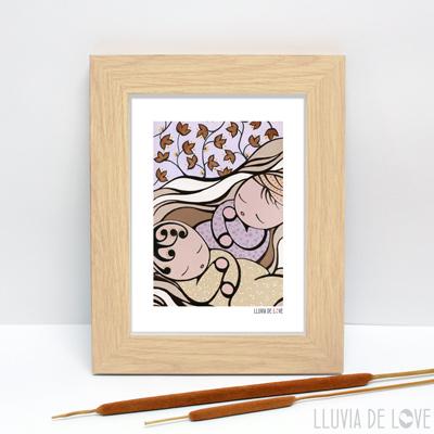 Ilustración de mellizos o gemelos ideales para regalar a una madre. Regalos para decorar el hogar. Regalos para baby shower