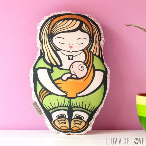 Muñeca handmade, madre porteadora con bebé, tela algodón 100%, relleno poliéster, almohada para niñas, cojín decorativo, regalos niñas