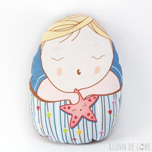 Cojín decorativo para la habitación de los niños y muñeco de tela Pepito Estrella. Regalos para niños muy pequeños. Para vincular al hermano mayor con el bebé recién nacido