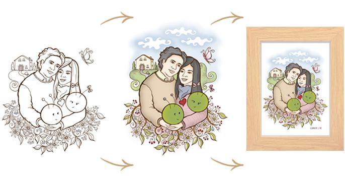 ilustración personalizada parejas y familias