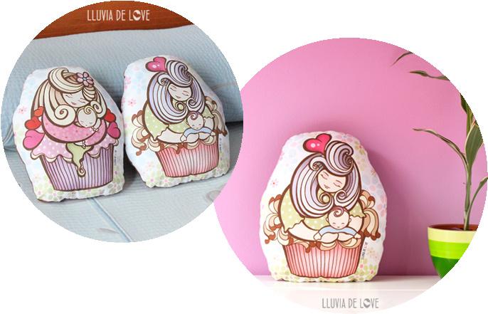 Cojines decorados con cupcakes para regalar a una madre primeriza o reciente. Cojín decorativo ilustrado