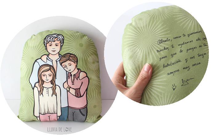 Cojines personalizados ilustrados. Felicitación de tela. Dedicatorias y felicitaciones originales en tela. Cojín para la abuela