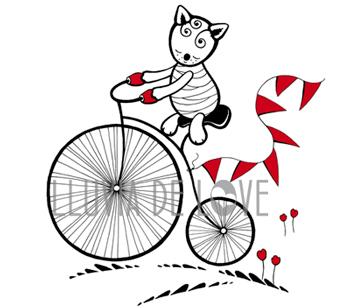 Bicicleta antigua, broche lobo, lobito