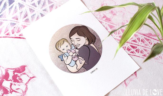 Lámina personalizada familia, regalos para madres, ilustración personalizada familias, dibujos de familia, regalos de cumpleaños para el día de la madre, regalo personal para mujer