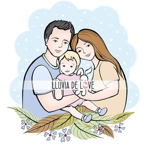 Lámina personalizada familia, regalos para madres, ilustración personalizada familias, dibujos de familia, regalos de cumpleaños para el día de la madre, retrato de familia