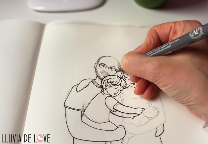 Paso a paso ilustración personalizada familia, dibujo de familia, retrato de familia, regalo para embarazada, regalos para madres