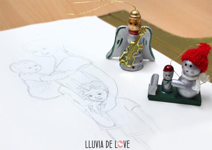 ilustracion de porteo, dibujo porteo, porteo, ilustracion maternidad, maternidad consciente, retrato de familia