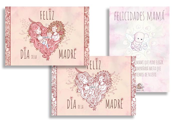 Tarjetas día de la madre para imprimir y colorear, ilustración maternidad. Coloreables. Duelo gestacional. Tarjetas de felicitación para el día de la madre