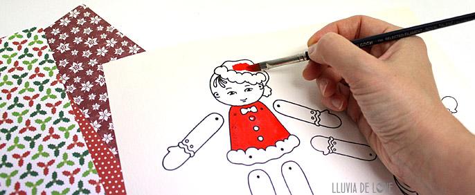 Muñecos de papel articulados para pintar y recortar : Lluvia de Love