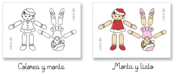 Muñecos De Papel Articulados Para Pintar Y Recortar Lluvia