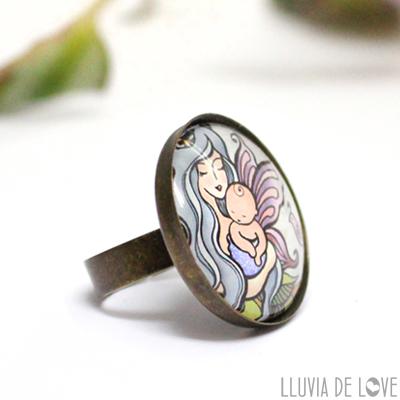 Comprar anillos de hadas, como regalo para mamás. Ilustraciónes de maternidad. Alas de hada