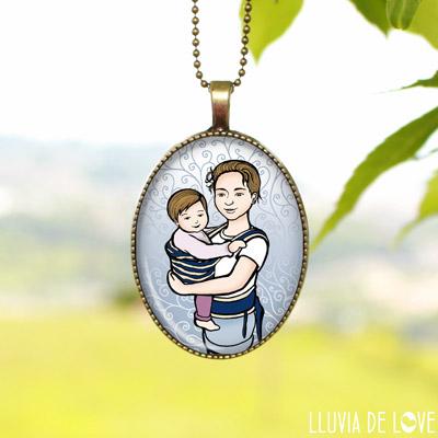 Regalos personalizados para madres y tías. Colgantes ilustrados para regalar a mujeres y mamás. Tus hijos en un colgante