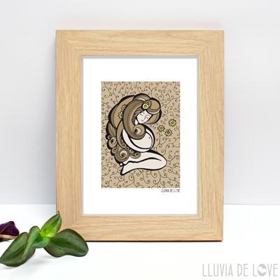 Lámina para enmarcar con ilustración de embarazo color sepia. Regalos para baby shower