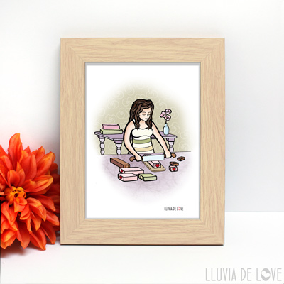 Ilustración de una mujer trabajando jabón artesano. ¿Quieres una personalización de tu profesión? Un regalo inolvidable.