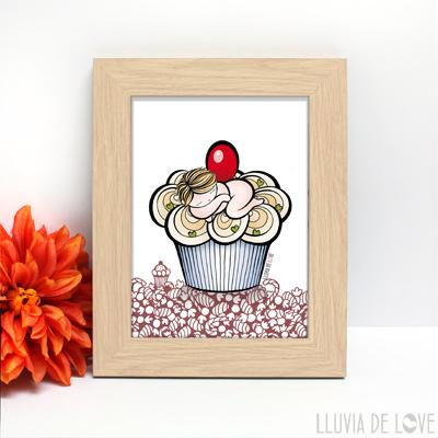 Regalar láminas ilustradas de maternidad. Regalos para madres. Lámina cupcake con bebé.