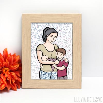 Lámina de madre con hijos, personalizada para hacer un regalo original y exclusivo.