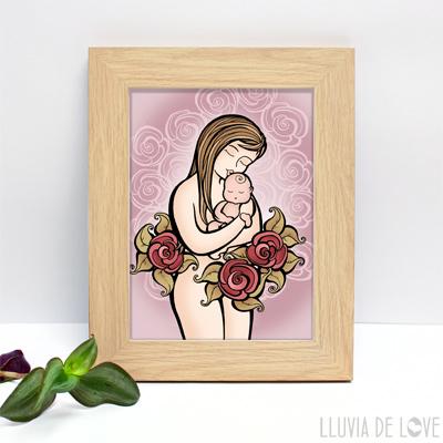 Lámina de madre con su bebé recién nacido ideal para hacer un regalo original y exclusivo a una mamá primeriza o madre reciente.