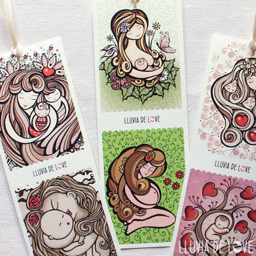 Marca páginas ilustrados con escenas de lactancia, madre e hijo, madre con bebé, embarazada. Arte maternal.