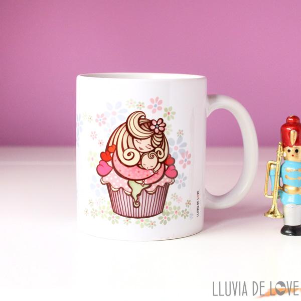 Taza de cerámica blanca con madre estilo cupcake de chocolate